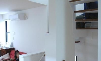 狭小敷地に建つ木造耐火の3階建て住宅|亀戸の家 (階段はリビングの延長として)