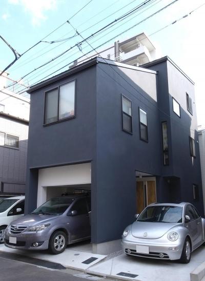 外観 (狭小敷地に建つ木造耐火の3階建て住宅|亀戸の家)