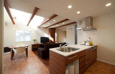 ワンフロアワンルームの木造住宅|小平の家 (オープンキッチン)