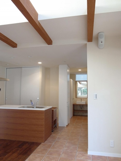 キッチン脇の洗面室 (ワンフロアワンルームの木造住宅 小平の家)