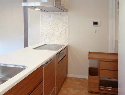 ワンフロアワンルームの木造住宅|小平の家 (アイランドキッチンの収納力を補うための移動ワゴン)