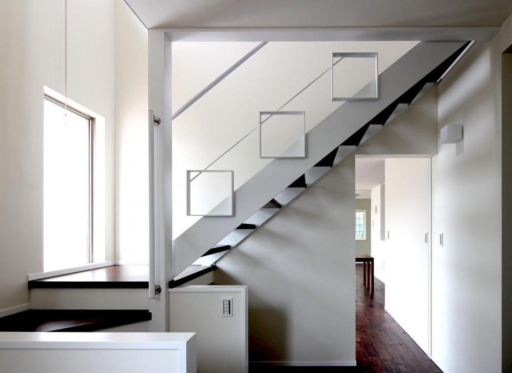 水平フラットな外観でまとめた木造|東久留米の家 (ストリップ階段)