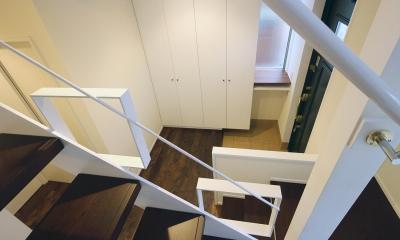 水平フラットな外観でまとめた木造|東久留米の家 (階段から玄関を見下ろす)
