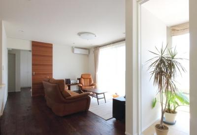 水平フラットな外観でまとめた木造|東久留米の家 (リビングとインナーテラス)