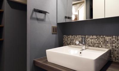 洗面所|随所にこだわりを用いた、シックでオシャレな空間