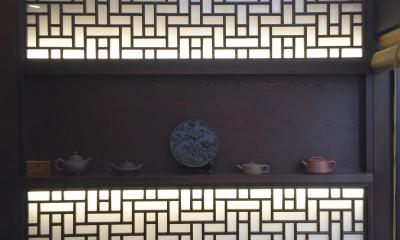 中国の茶室 (中国格子による光壁)