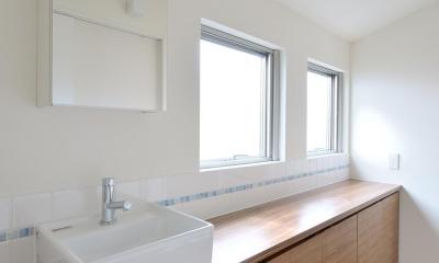 水平フラットな外観でまとめた木造|東久留米の家 (洗面室)