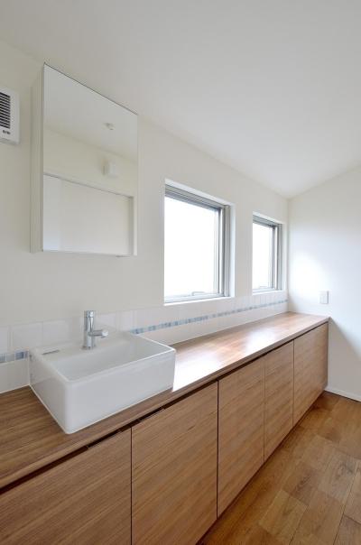 洗面室 (水平フラットな外観でまとめた木造|東久留米の家)