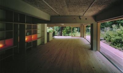 竹包隠居 tikuhouinkyo (周囲の庭と一体のリビング)