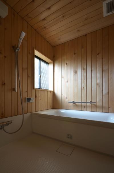 青森ヒバの浴室 (荻窪K邸-二世帯住宅を一世帯で使用、こだわりの部分リノベーション-)