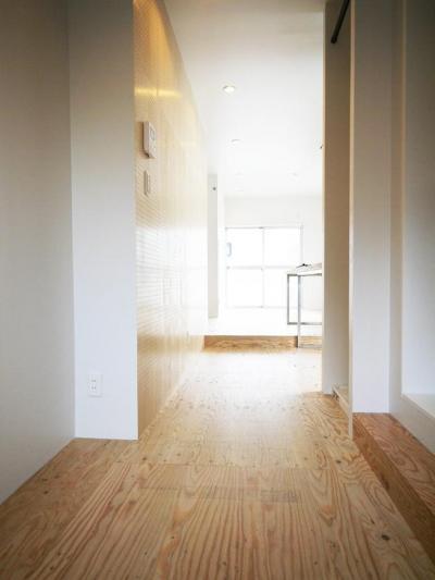 有孔ボードがある玄関廊下 (【マンション1LDK】シンプルなシングルライフスタイル)