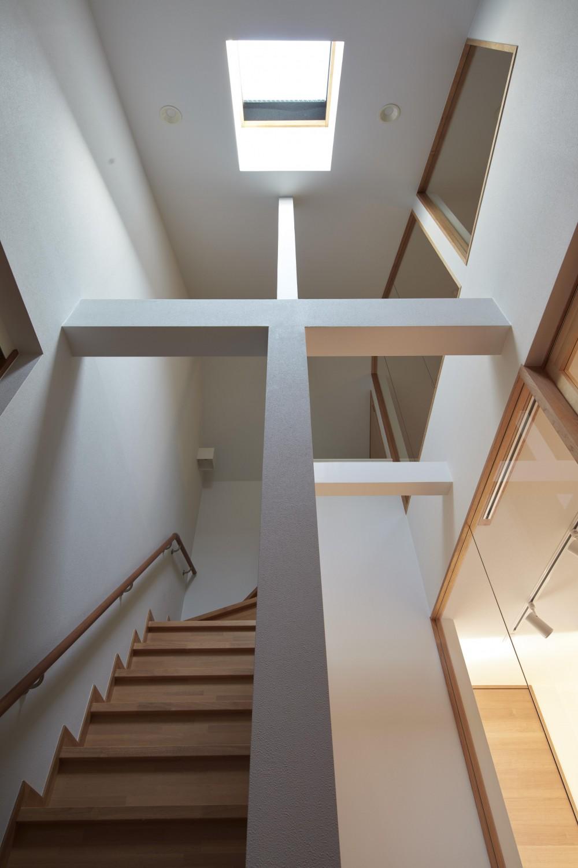 小岩の二世帯住宅 (トップライトから光が差し込む階段(子世帯))