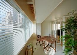 積窓居 Show Window House (インナーテラス 上部は格子で空気が循環する)