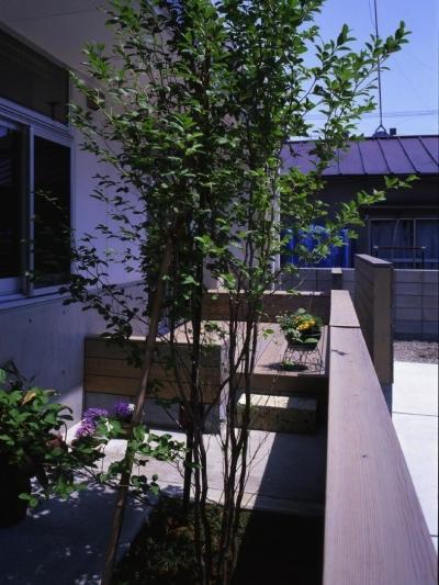 家の前にほんの少しの庭を設けています。 (下町で静かに暮らす熟年夫婦の家)