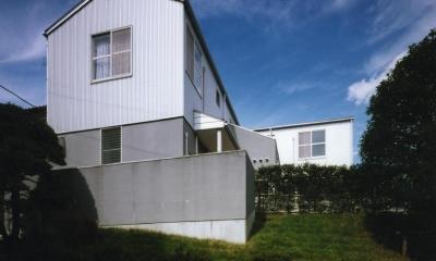 バリアフリーデッキのある家 (外観は当時出たてのガルバリウム鋼板を採用しています。)