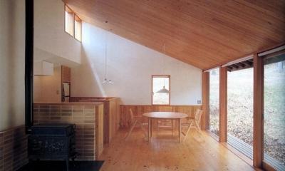 森の中の静かな別荘 (広間は、節の多い安価な桧の床と、最近また輸入され始めたソ連唐松とプラスターでまとめています。)