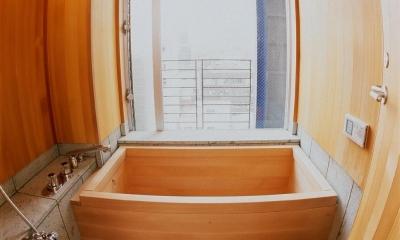スタジオ鳥村ビル (魚眼レンズで撮影した9階の展望風呂です。)