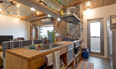 1ROOM仕立てのカリフォルニアスタイルリノベーション 夏風添え (キッチン)