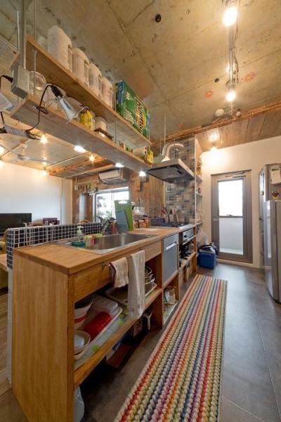 キッチン (1ROOM仕立てのカリフォルニアスタイルリノベーション 夏風添え)