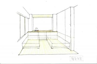 マンションリノベーション・S邸 寝室 スケッチ (マンションリノベーション・S邸)