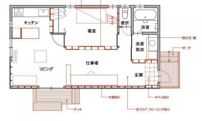 1000万円のハーフビルドの家 (1階 赤で示すのは施主セルフビルド)