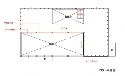 2階 赤で示すのは施主セルフビルド 2階はセルフビルド用の倉庫になっています。 (1000万円のハーフビルドの家)