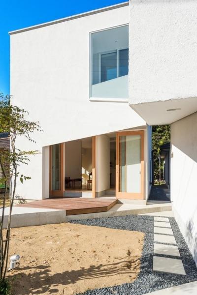 刈羽村の家 (アプローチから玄関へ)