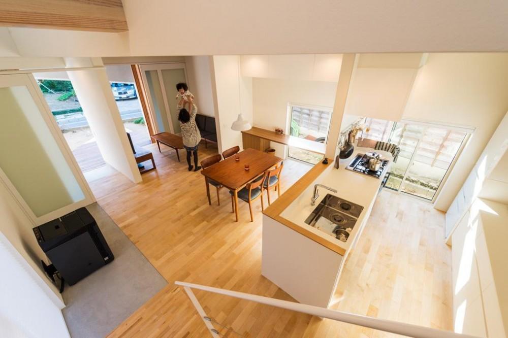 刈羽村の家 (階段から居間を眺める)