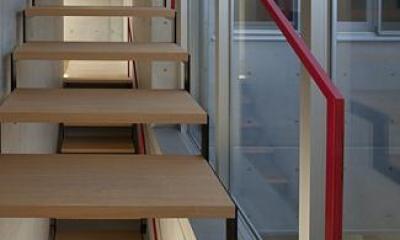 木を感じるオープン型階段|T-house