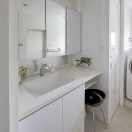 理想の住環境でこだわりの大人空間に住まう (コンパクト清潔感のある洗面スペース)