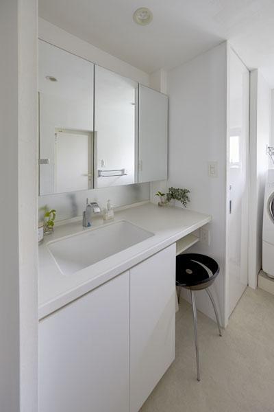 コンパクト清潔感のある洗面スペース (理想の住環境でこだわりの大人空間に住まう)