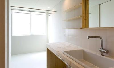 ヒシノイエ (木を感じる洗面室)