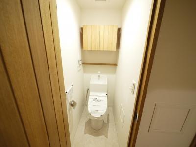 トイレ (隠れた可動収納棚がたくさんある家)