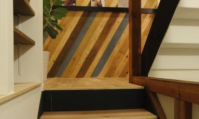 素材感を前面に押し出したヘアサロン兼住宅 (階段)