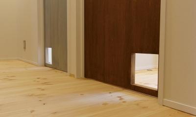 素材感を前面に押し出したヘアサロン兼住宅 (小さな家族のためのキャットゲート)