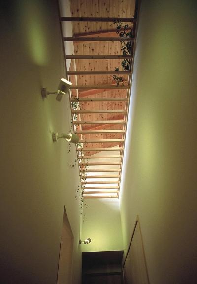 吹き抜けのある廊下 (上福原の家)