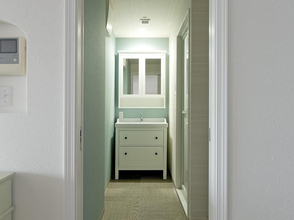 東加古川のリビング、キッチンリフォーム事例|ヴィンテージスタイルの住まいの部屋 シンプルな洗面台