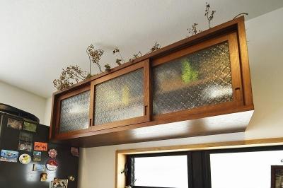 キッチン棚 (暖かな光に包まれた、レトロな雰囲気を楽しむリビング)