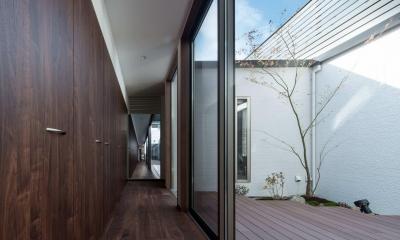 光と風を取り込むため中庭と屋根上のウッドデッキ 「呉の家Ⅱ」 (光と風を取り込む中庭)