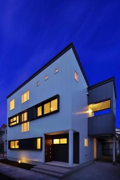 鶴岡の家 (外観-ライトアップ)