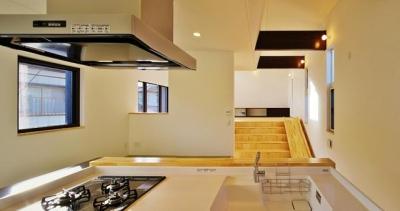 キッチンからリビングの眺め (鶴岡の家)