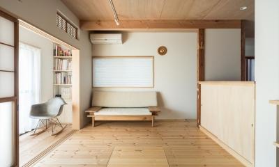 1階リビング|築90年の木造住宅を二世帯にリノベーション:『横須賀市久里浜・戸建二世帯リノベーション』