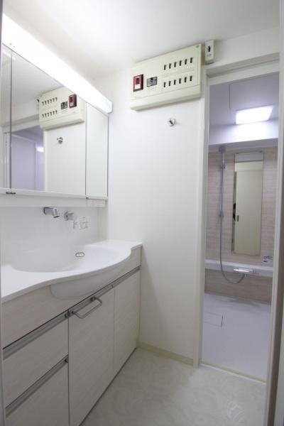 洗面室 (ロフト+W.I.C.のある、よくばり1DK!30平米の空間を有効利用。)