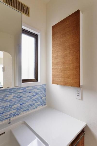 洗面の収納スペース (キッチンを真ん中に)