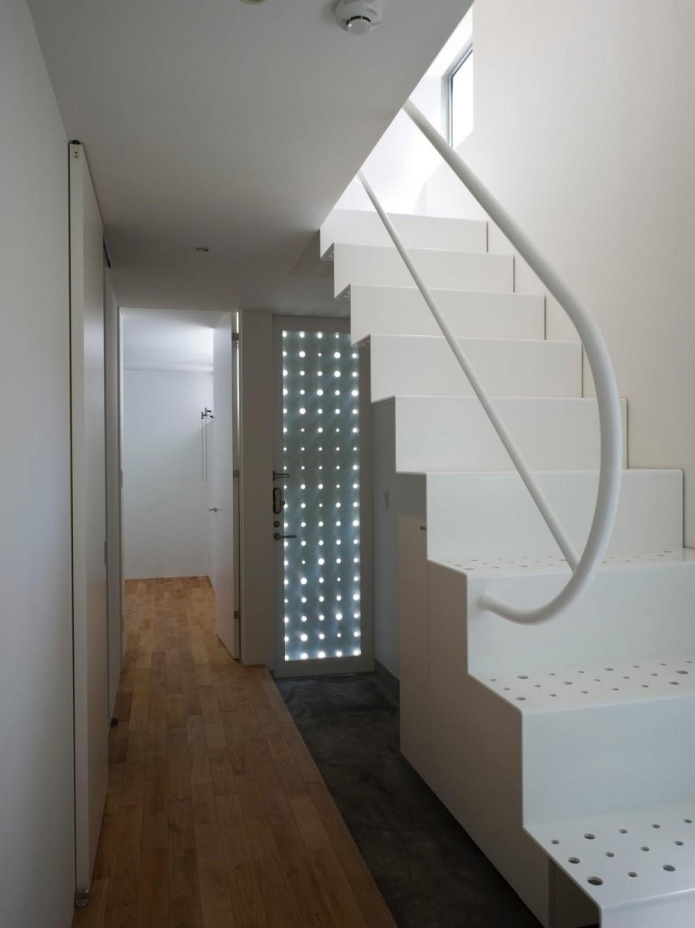 三ツ沢中町の住宅 (光が漏れる玄関扉)