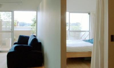 寝室|slicey-水色と黄色で楽しい1LDKに