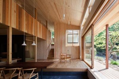 縁側と一体感のあるリビング (森林公園の家)