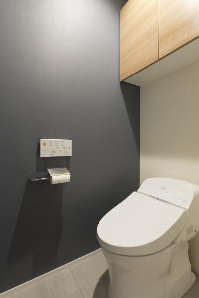 トイレ (くつろぎのスペースを大きく確保。子供も猫ものびのび過ごせる温もりの家。)