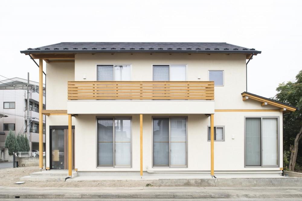 木と鉄骨階段の家 (外観)