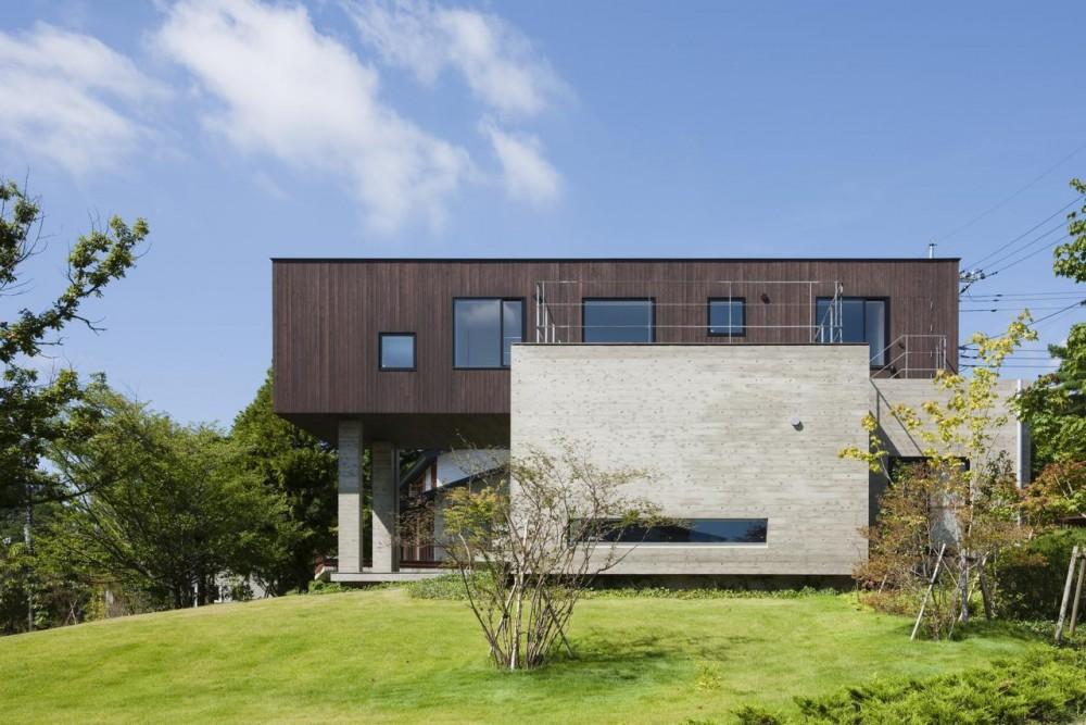那須の家 (コンクリート打放しと杉板の外観)